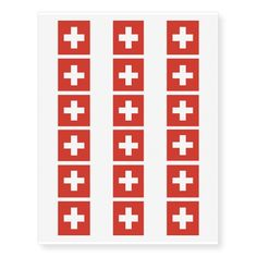 Swiss flag temporary tattoos