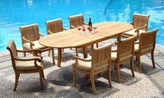 "New 9 Pc Luxurious Grade-A Teak Dining Set - 117"" Double Extension Oval Table 8 Giva Arm / Captain Chairs WholesaleTeak http://www.amazon.com/dp/B007SBM6OM/ref=cm_sw_r_pi_dp_K7O4ub074JZB1"