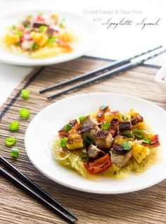 Grilled Sweet and Sour Pork with Spaghetti Squash - A healthy twist on a classic. You won't miss the fried version!   Foodfaithfitness.com   @FoodFaithFit