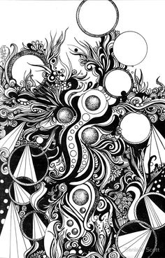 Abstract Doodle, Pen and Ink, Black and White von Danielle Scott