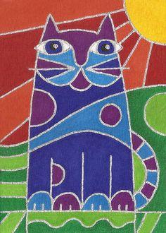 Pop Art Cat by David Venne mono deluxe Needlepoint Canvas