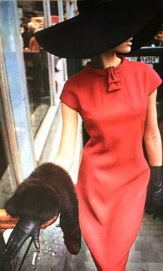LOVE this red dress and floppy hat! love the fur too! modern twist on a classic