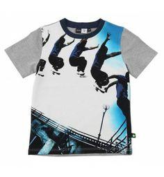 Hip t-shirt  'Street jumper' van Molo met korte mouw. Op de voorkant een print van een street jumper.  Molo Renzo Grey melange   Molo zomer collectie 2014 www.kidsindustry.nl