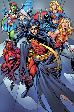 think I liked the old Teen Titans better, there were less annoying blondes on that team. Young Justice Comic, Héros Dc Comics, Dc Comics Characters, Warcraft Characters, Batgirl, Nightwing, Supergirl, Comic Book Covers, Comic Books Art