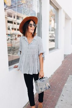 Striped Blouse and Sunhat #style #fashionista