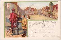 Gruss aus Leipzig Litfaßsäule 1898 Litho