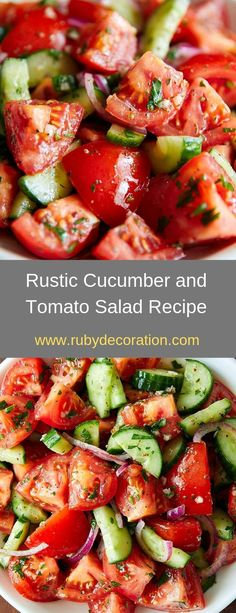 Rustic Cucumber and Tomato Salad Recipe - Salad, sauce, dip recipes - Salat Tomato Salad Recipes, Cucumber Tomato Salad, Cucumber Recipes, Salad Dressing Recipes, Healthy Salad Recipes, Diet Recipes, Cooking Recipes, Lunch Recipes, Recipies
