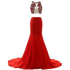 Two Piece Red O Neck Court Train Chiffon Crop Tops Trumpet Mermaid... (€145) ❤ liked on Polyvore featuring dresses, gowns, white dress, red white dress, prom dresses, white two piece dress and white chiffon dress