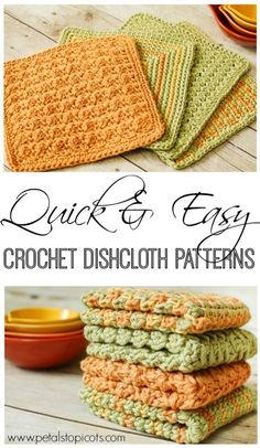 Crochet Dishcloths: 4 Quick and Easy Crochet Dishcloth Patterns   www.petalstopicots.com