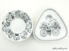 Arabia Emilia, mallin RU malja ja BT vati. Kitchenware, Tableware, Creative People, Decorative Plates, Art Deco, Vintage, Modern, How To Make, Interior