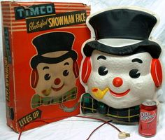 """1940's TIMCO ELECTRIFIED """"SNOWMAN FACE"""" LITE-UP CHRISTMAS DISPLAY 