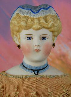 antique parian head doll..china head ... victorian