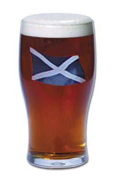 SCOTTISH FLAG PUB GLASSES, SET OF SIX