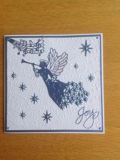 Sue Wilson Christmas angel 2015 ,simple Christmas card just on embossed card
