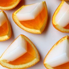 Orange jello shots with coconut whipped vodka