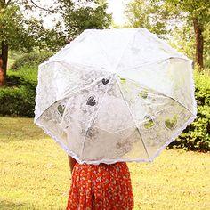 6808 love sweet princess lace print laciness transparent umbrella folding umbrella $9.12