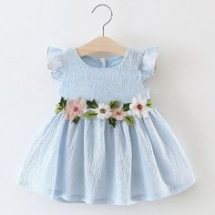 Sewing Baby Girl Baby Girl Solid O-Neck Flower Belt Ruffled Princess Dress - Frocks For Girls, Kids Frocks, Dresses Kids Girl, Kids Outfits, Baby Girl Clothes Sale, Cool Kids Clothes, Little Girl Fashion, Kids Fashion, Flower Belt