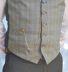 pocket watch & straight chain (with spring ring), worn from vest button to vest pocket