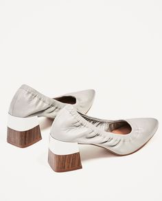 MEDIUM HEEL GATHERED LEATHER SHOES-View all-SHOES-WOMAN | ZARA United States
