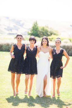 Black lacey bridesmaid dresses: http://www.stylemepretty.com/california-weddings/sonoma/2014/04/11/organic-wedding-in-sonoma/ | Photography: Larissa Cleveland - http://www.larissacleveland.com/