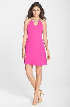 Laundry by Shelli Segal Embellished Georgette A-Line Dress available at #Nordstrom