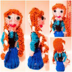 Anna from Frozen a stuffed Rainbow Loom Toy Rainbow Loom Creations, Loom Bands, Loom Bracelets, Crochet Necklace, Frozen, Anna, Lily, Toys, Random