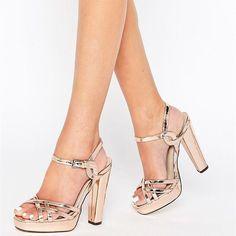 dc1806f4612 Women s Gold Platform Heels Buckle Chunky Heel Ankle Strap Sandals   elegantshoegirl