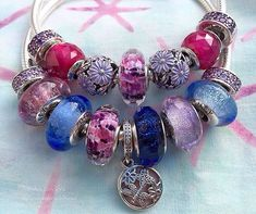 >>>Pandora Jewelry OFF! >>>Visit>> Pandora Murano glass today with new clips on the smooth bracelets. Shoreline Sea Glass is a favourite with Disney Muranos . The new dangle is named Springtime. Pandora Bangle, Pandora Beads, Pandora Bracelet Charms, Pandora Jewelry, Pandora Purple Charms, Pandora Style Charms, Photo Charms, Cool Necklaces, Cute Jewelry