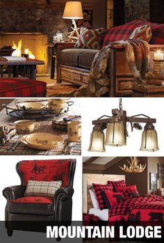 The Mountain Lodge's black and red buffalo plaid bedding with bears and pine trees lends a rustic feel to your space. Natural resin antler chandeliers, stone dinnerware, and pinecone accents evoke the inspired feeling of the Great Outdoors. Lodge Look, Plaid Bedding, Rustic Cabin Decor, Cabin Interiors, Cozy Cabin, Cabin Homes, Traditional Decor, My New Room, Decoration