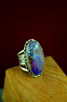Navajo – Sterling Silver Kingman Mohave Purple Turquoise Ring by Alvin Joe Size 7