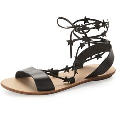 Loeffler Randall Starla Leather Gladiator Sandal ($195) ❤ liked on Polyvore featuring shoes, sandals, black, shoes sandals classic, black ankle strap sandals, black gladiator sandals, strappy sandals, lace up gladiator sandals and black leather flats