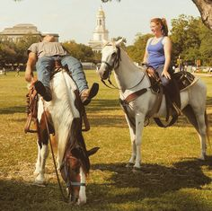 """You know you're in Texas when it's completely acceptable to ride a horse through campus. // """"Baylor Riding Association members Orlando Romero and Erin Wingerson take a break on campus. The group was trying to sign up new members."""""""