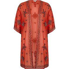 Orange embellished kimono - kimonos - tops - women