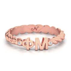 Phi Mu Rose Gold Pavé Twist Letter Ring #phi-mu #rings #rose-gold-plate