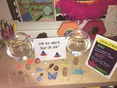 Floating and sinking investigation. Science Week, Science Activities For Kids, Investigation Area, Investigations, Tuff Spot, Nursery Activities, Tuff Tray, Around The World In 80 Days, Eyfs