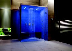 Embrace the health benefits of chroma therapy as you shower with GROHE SPA F-digital Deluxe's fascinating light effects #spa #shower #chromatherapy