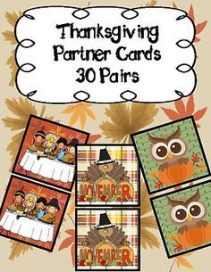 Never again will you struggle with choosing partners in your class. Simply print out these cards (I print them on cardstock for extra sturdiness!) and let your kids choose one each. Then, they find the buddy who has the same and ......viola!!!! Work buddies! -30 different Thanksgiving Themed sets to chose from. Partner Cards, Primary Classroom, Teacher Pay Teachers, Card Stock, Thanksgiving, Kids, Young Children, Boys, Paper Board