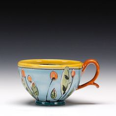 Linda Arbunkle click now for more. Pottery Painting, Ceramic Painting, Pottery Mugs, Ceramic Pottery, Ceramic Cups, Ceramic Art, Mugs And Jugs, Clay Mugs, Modern Art Paintings