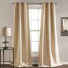 Lush Decor 2-pack Darcie Linen Blend Room Darkening Curtains, Beig/Green (Beig/Khaki)