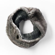 Simply Vera Vera Wang Reversible Faux-Fur Knit Cowl Scarf, Size: One... ($29) ❤ liked on Polyvore featuring accessories, scarves, grey, gray shawl, knit infinity scarves, grey shawl, gray scarves and long infinity scarves