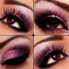 Maquillaje rosado para Navidad.