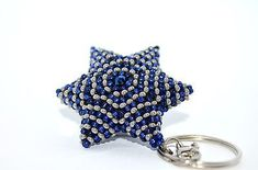 Blue and Silver David's beaded star keychain, hand made, souvenir. David, Star Pendant, Pendant Earrings, Metal Chain, Silver Beads, Blue And Silver, Seed Beads, Bronze, Stars