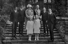 The family of the Crown Prince and Princess of Germany, back row from left: Prince Hubertus (1909–1950), Prince Wilhelm (1906–1940), Crown Princess Cecilie (1886-1954), Crown Prince Wilhelm (1882-1951), Prince Friedrich (1911–1966), Prince Louis Ferdinand (1907–1994).   Front row from left: Princess Alexandrine (1915–1980) and Princess Cecilie (1917–1975) of Prussia