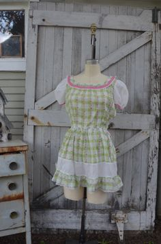 1940s green plaid cotton dress 40s reconstructed day dress size medium vitage check and floral summer dress by melsvanity on Etsy