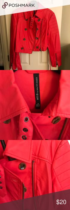 Walter Baker red faux leather biker jacket sz S NEW W/O TAGS. Cropped red faux leather jacket. Hits above hip with trench coat style details. It's a true bright red color, not orange or pink. W118 by Walter Baker Jackets & Coats Trench Coats