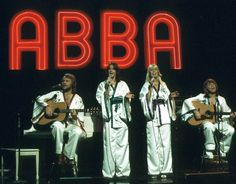 ABBA performing on stage in 1970