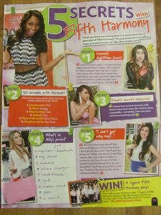 Fifth Harmony, Full Page Pinup Clipping