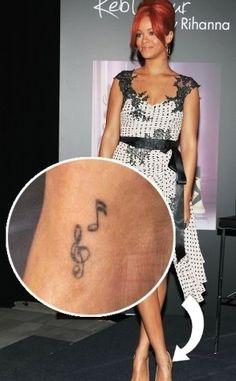Rihanna Ankle Tattoo, Note Tattoo, Peircings, Music Notes, Tattoos, Design, Tatuajes, Tattoo, Body Piercings