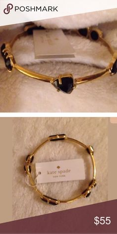 Kate Spade Desert Stone Black Crystal Bangle New with tags  Did not come with box so it does have some scratches on it The closure isnt tight i think you could kinda squeeze it so it would stay a little better  Inside the corcle where the letter S is when held at a certain angle theres a shadow in it youll just have to look at the pics to see what i mean  24 clear stones around kate spade Jewelry Bracelets