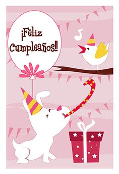 """""""Perro Y Pajaro"""" printable card. Customize, add text and photos. Print for free!"""